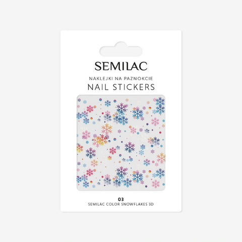 03 COLOR SNOWFLAKES 3D Semilac Nail Stickers