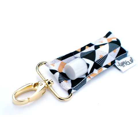 Black and Gold Triangles LippyClip® Lip Balm Holder