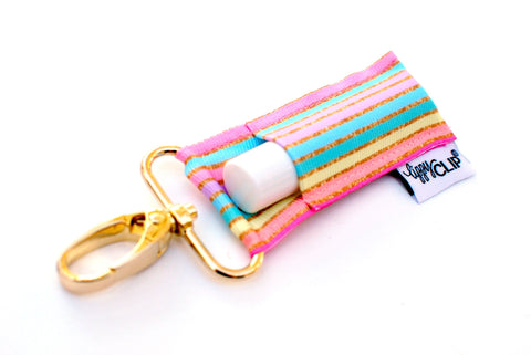 Pastel Gold Stripe LippyClip® Lip Balm Holder