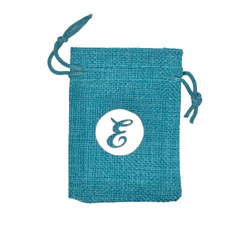 Small Teal Burlap Gift Bag