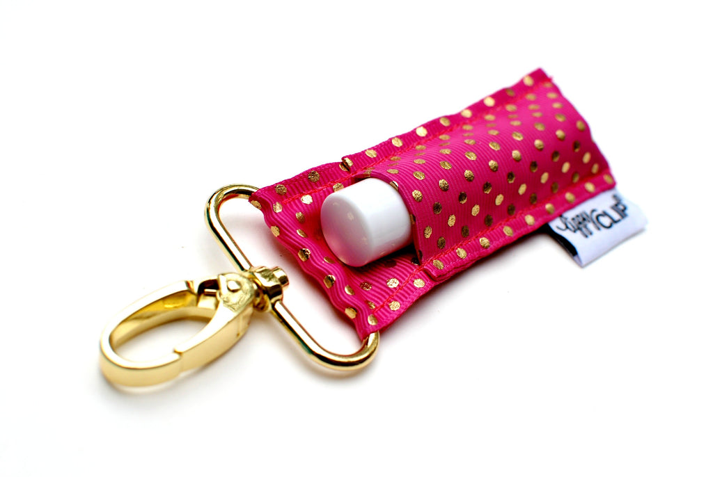 Hot Pink Gold Dots LippyClip® Lip Balm Holder