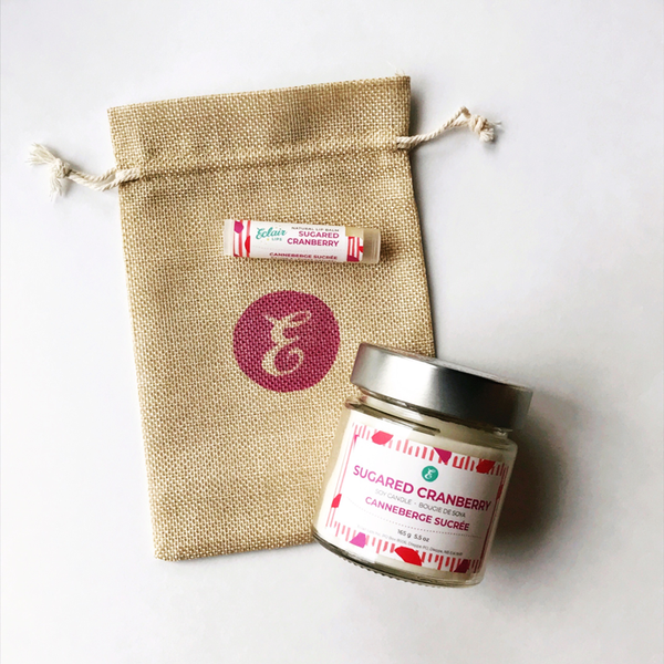 Candle + Lip Balm Sugared Cranberry Gift Set