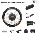 48V 1500W Electric Bike Wheel Motor With Battery 52V 12.8/17/20/30 ah Electric Bike Conversion Kit With Battery Electric Bicycle Motor Kit
