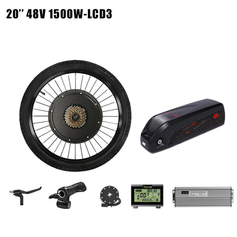 52v12.8ah e Bike Battery with 48v 1500w Electric Bike Conversion Kit 52V Battery 48v Electric Wheel Motor Kit eBike Motor Wheel