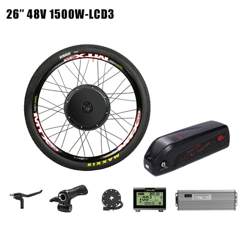 52v12.8ah e Bike Battery with 48v 1500w Cassette Conversion Kit 52V Battery 48v Electric Wheel Motor Kit eBike Motor Wheel
