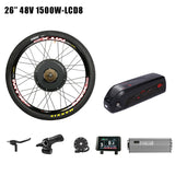 48V 1500W Electric Bike Conversion Kit with Battery 7 Speed Motor Wheel 52V12.8AH e Bike Battery 2A Charger Electric Wheel Motor