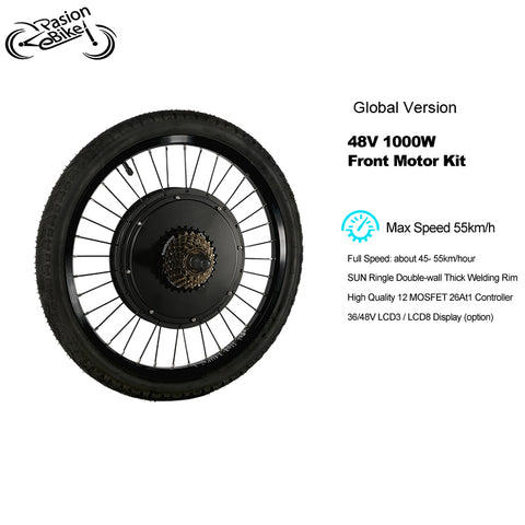 48V 1000w Front Motor Wheel Electric Bike Kit 48V E Bike Set Electric Wheel Motor Electric Bike Conversion Kit Front Hub Motor V brake