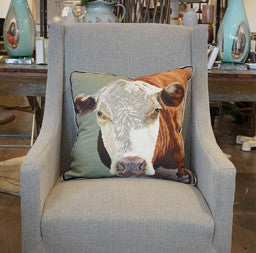 Hand Hooked Hereford Cow Pillow