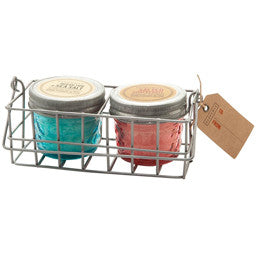 Paddywax Wire Caddy Gift Set | Salted Grapefruit + Ocean Tide and Sea Salt