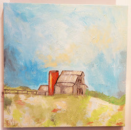 Grey Barn with Red Silo by Daniel Bright