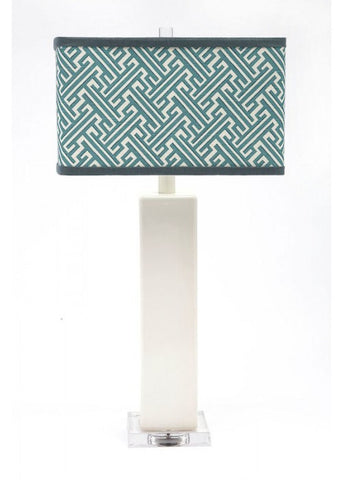 Aqua Geometric Table Lamp