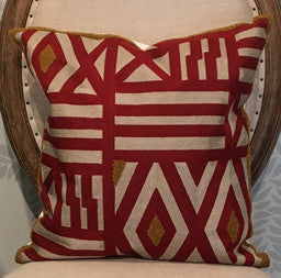 Red Geometric Throw Pillow 18 x 18