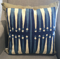 Navy Embroidered Throw Pillow 20 x 20