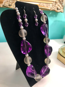 Chunky Purple/Clear Stone Necklace Set