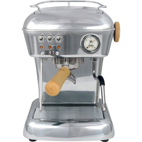 Ascaso Dream UP V3 PID w/ WOOD Handle and Steam Knob - Polished Aluminum - My Espresso Store