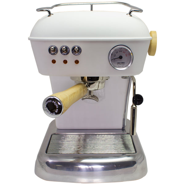 Ascaso Dream UP V3 - White w/ WOOD Handle and Steam Knob - My Espresso Store