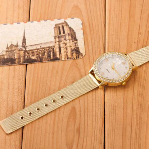 MONACO - Gold Mesh Band Unisex Dress Watch