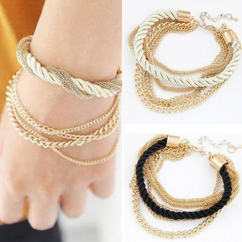 Fashion 2 colors luxury braided multilayer bracelet alloy bangle bracelets fashion jewelry - Super Elite Trends