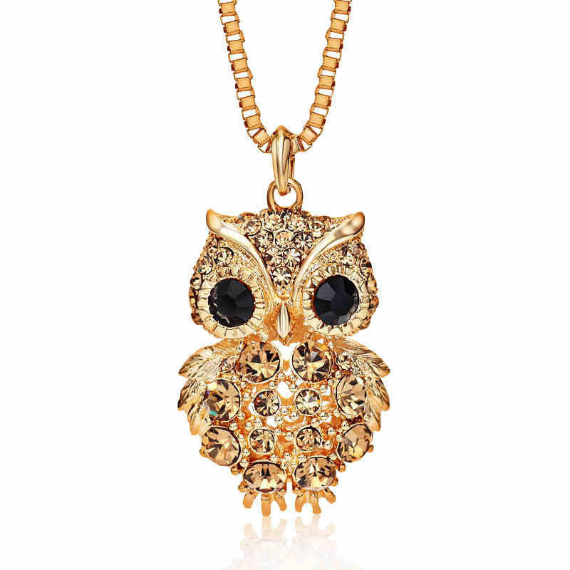 Antique Alloy with Rhinestone Owl Necklace - Super Elite Trends