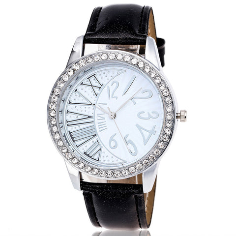 BRYCE Crystal Pattern Leather Watch - Super Elite Trends