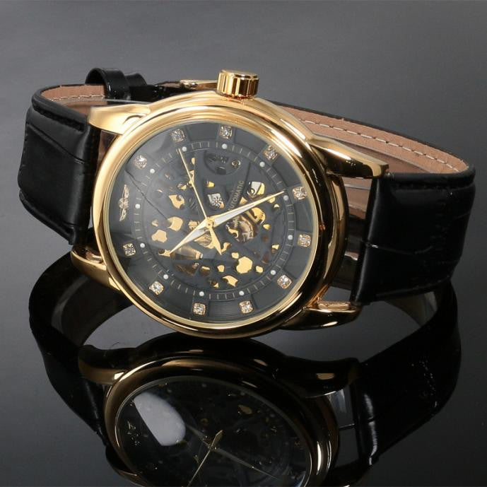 Classic Steampunk Skeleton Mechanical Leather Watch - Super Elite Trends