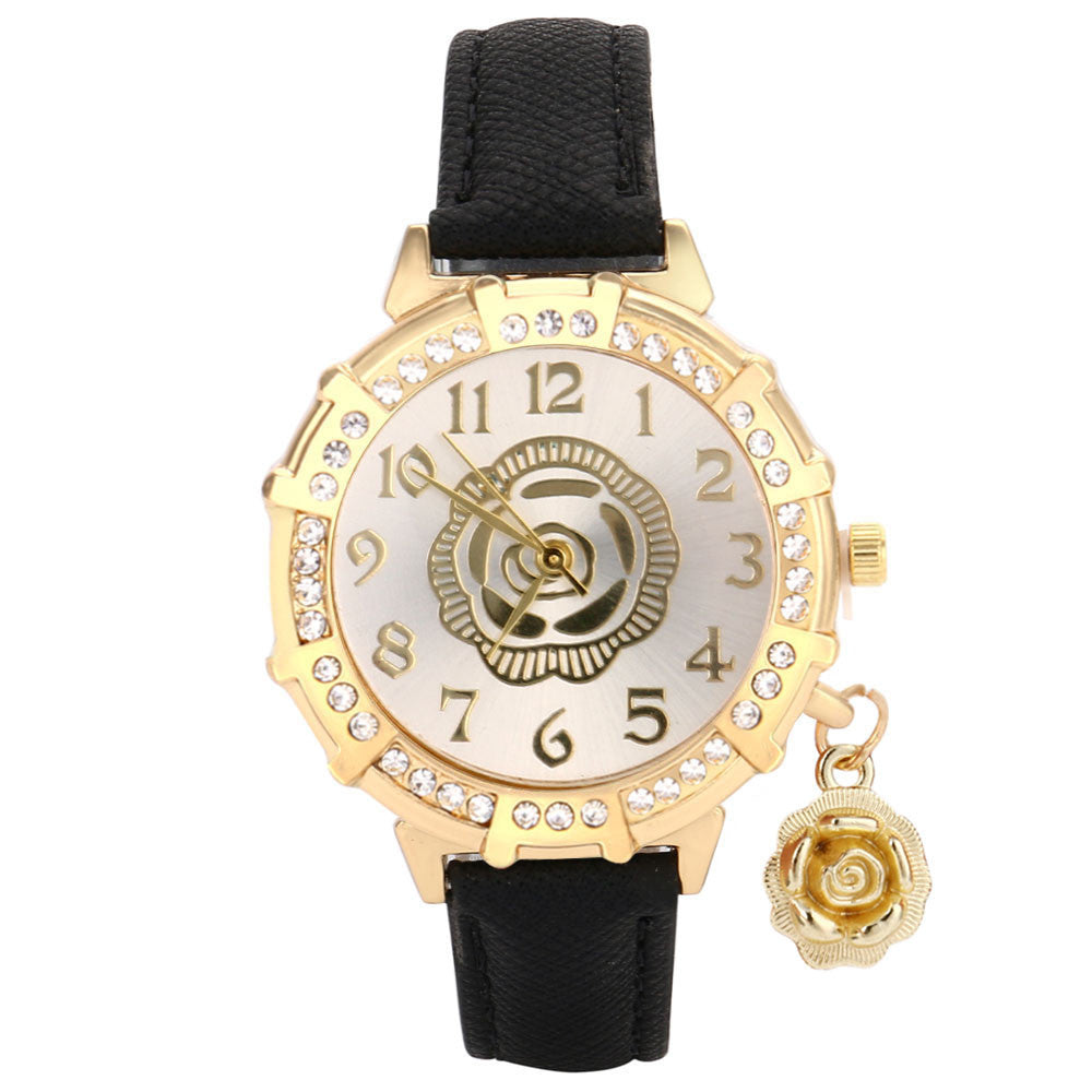 RENÉE Ladies Rhinestone Tower Pendant Watch - Super Elite Trends