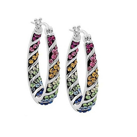 Rainbow Hoop Crystal Earrings - Super Elite Trends