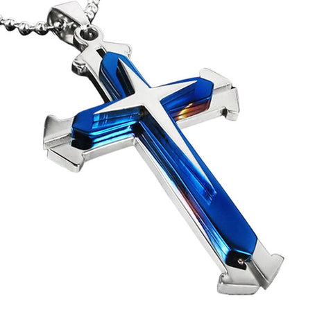 Stainless Steel Dual Tone Men's Cross Pendant - Super Elite Trends