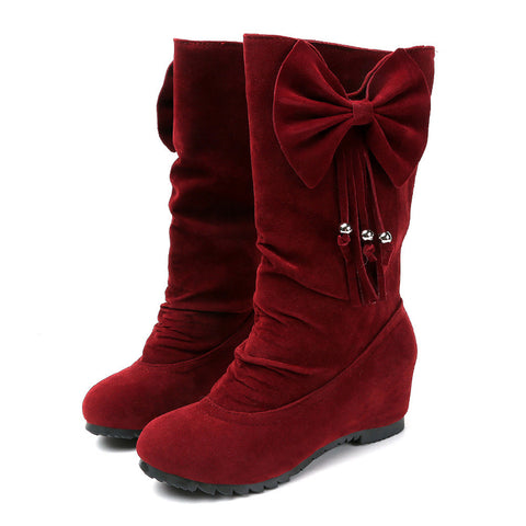 Bowknot Mid Calf Winter Boots - Super Elite Trends