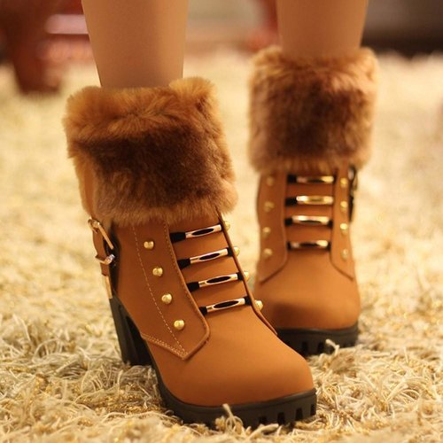 Fur Top Winter Ankle Boots