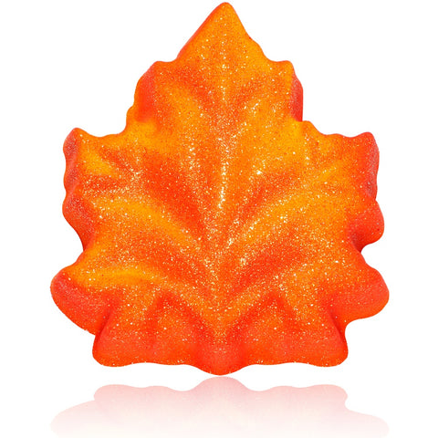 Fall Leaf Bath Bomb with the Golden Colors of Autumn