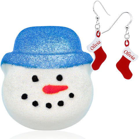 Snowman Bath Bomb Blue Hat with Customizable Christmas Stocking Earrings