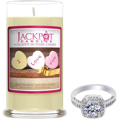 Valentine Candy Hearts Jewelry Ring Candle