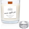 Warm Apple Pie Wooden Wick Jewelry Ring Candle