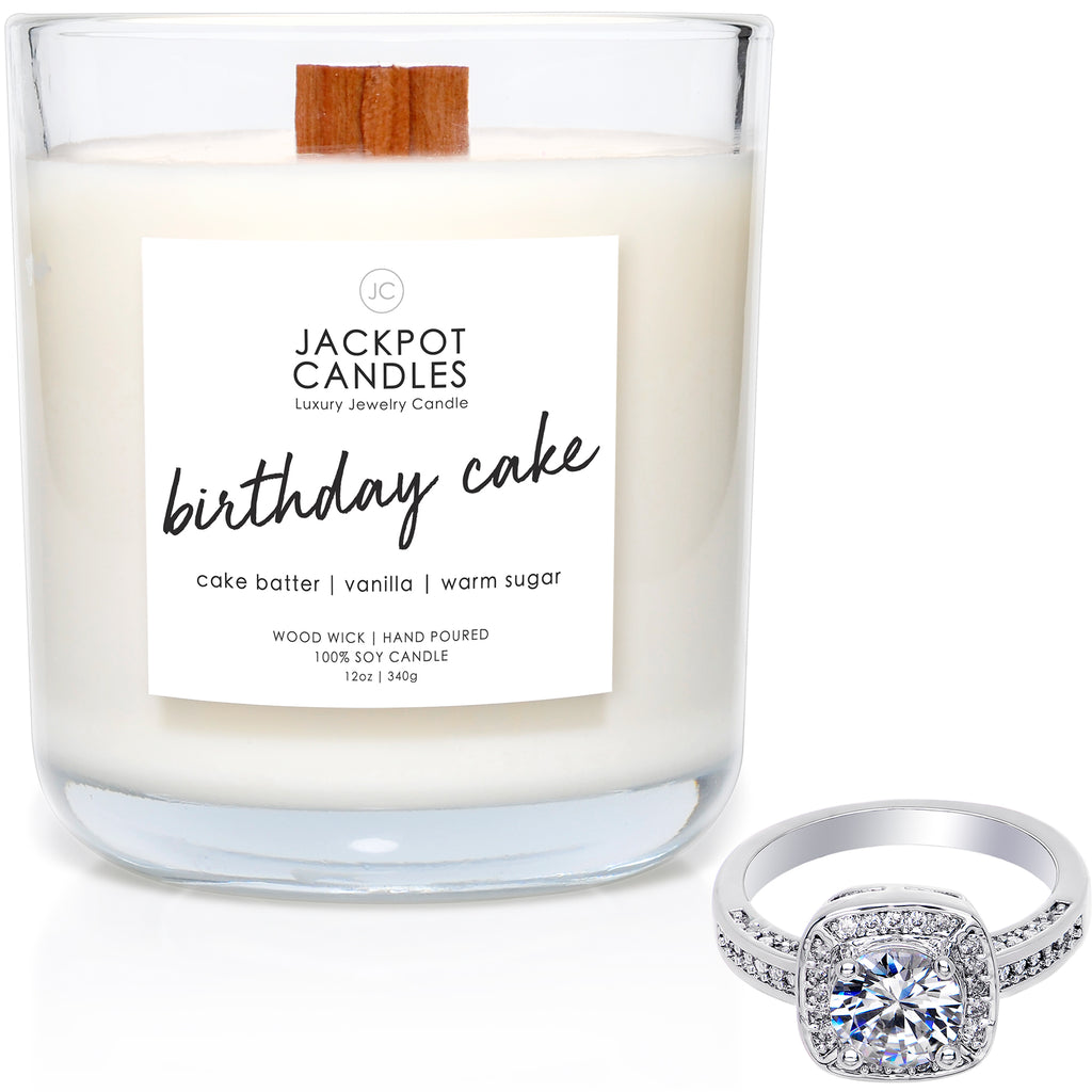 Birthday Cake Wooden Wick Jewelry Ring Candle