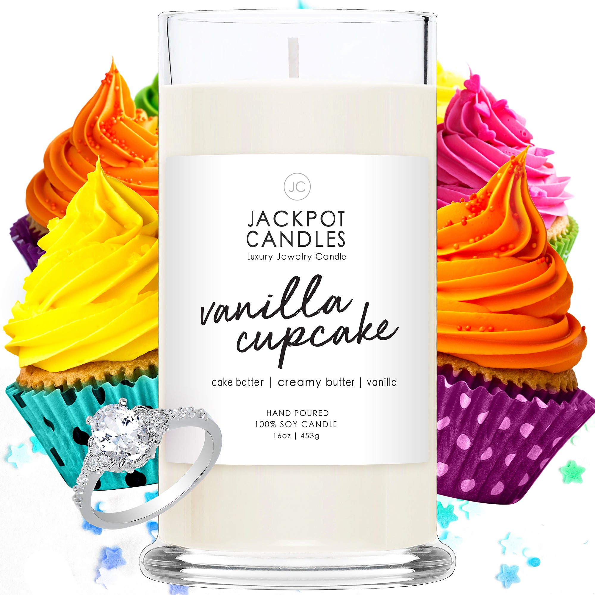 Vanilla Cupcake Candle with Jewelry Ring