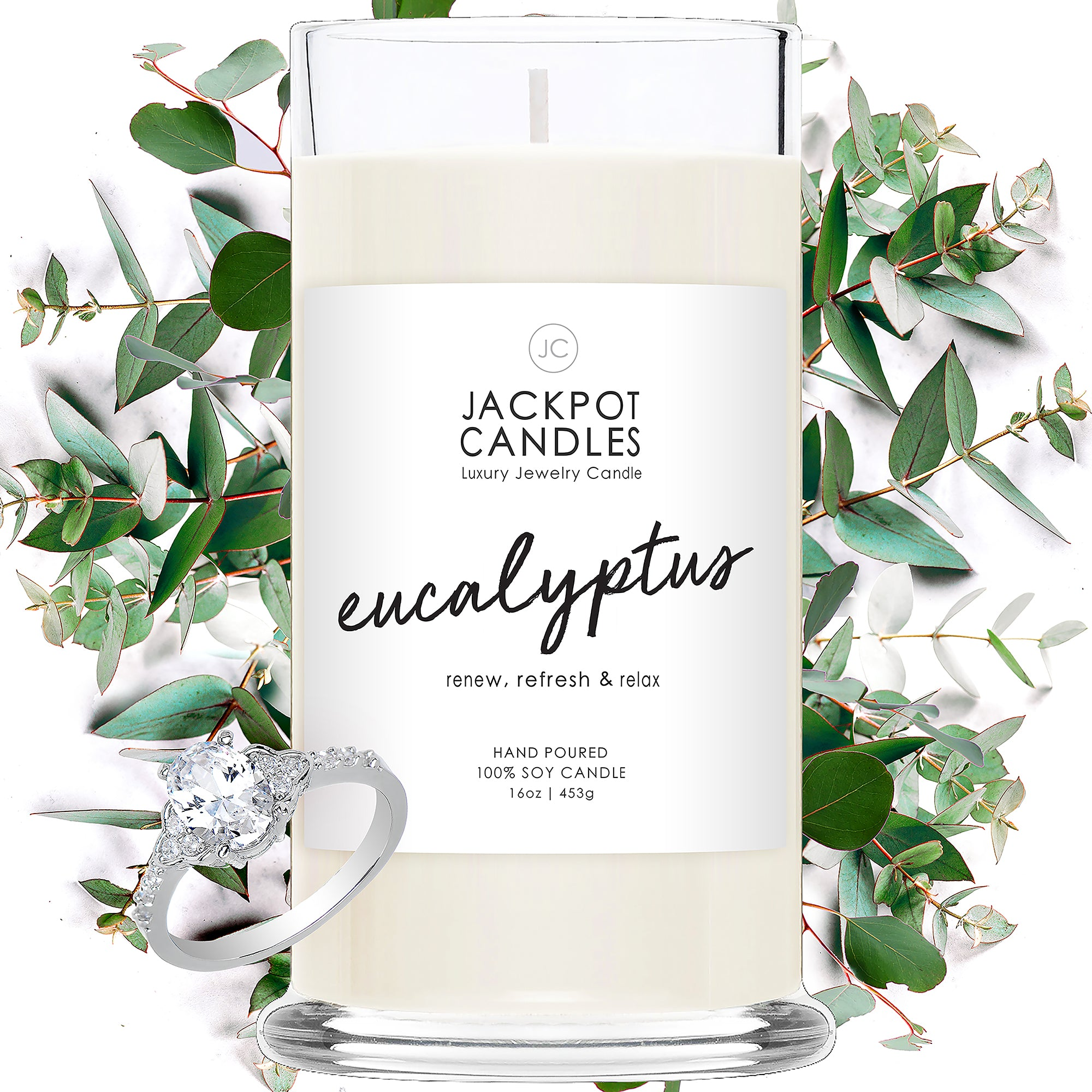 Eucalyptus Jewelry Candle with Jewelry Ring
