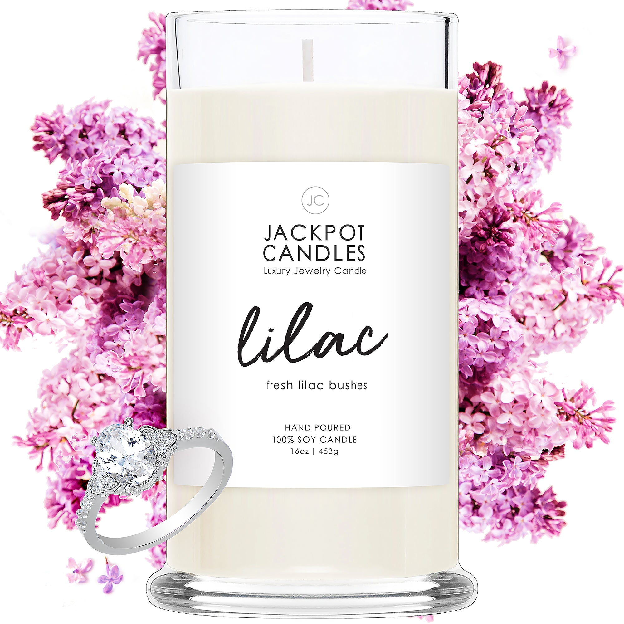 Lilac Candle with Jewelry Ring