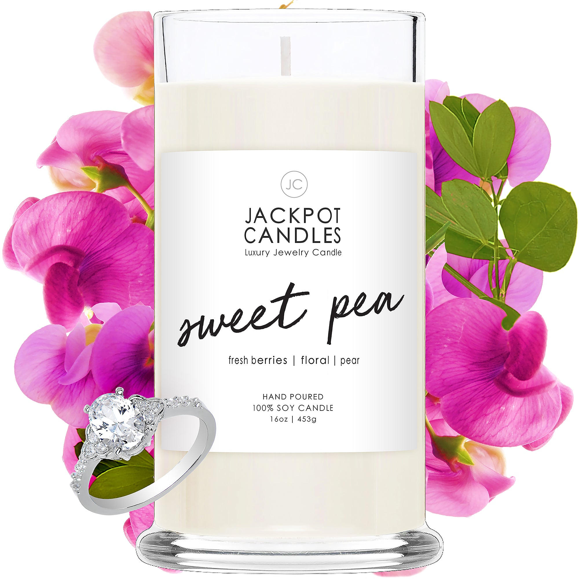 Sweet Pea Candle with Jewelry Ring