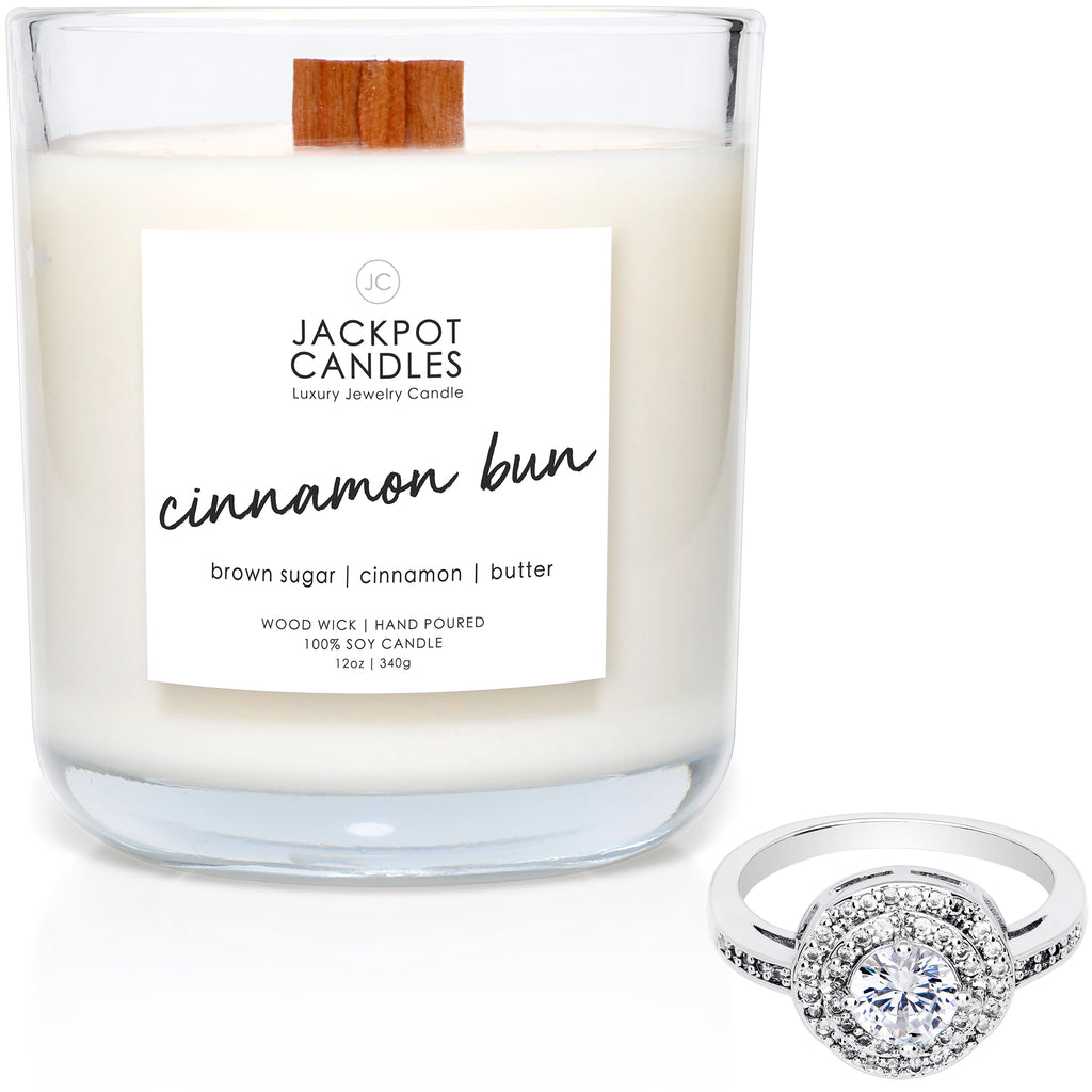 Cinnamon Bun Wooden Wick Jewelry Ring Candle