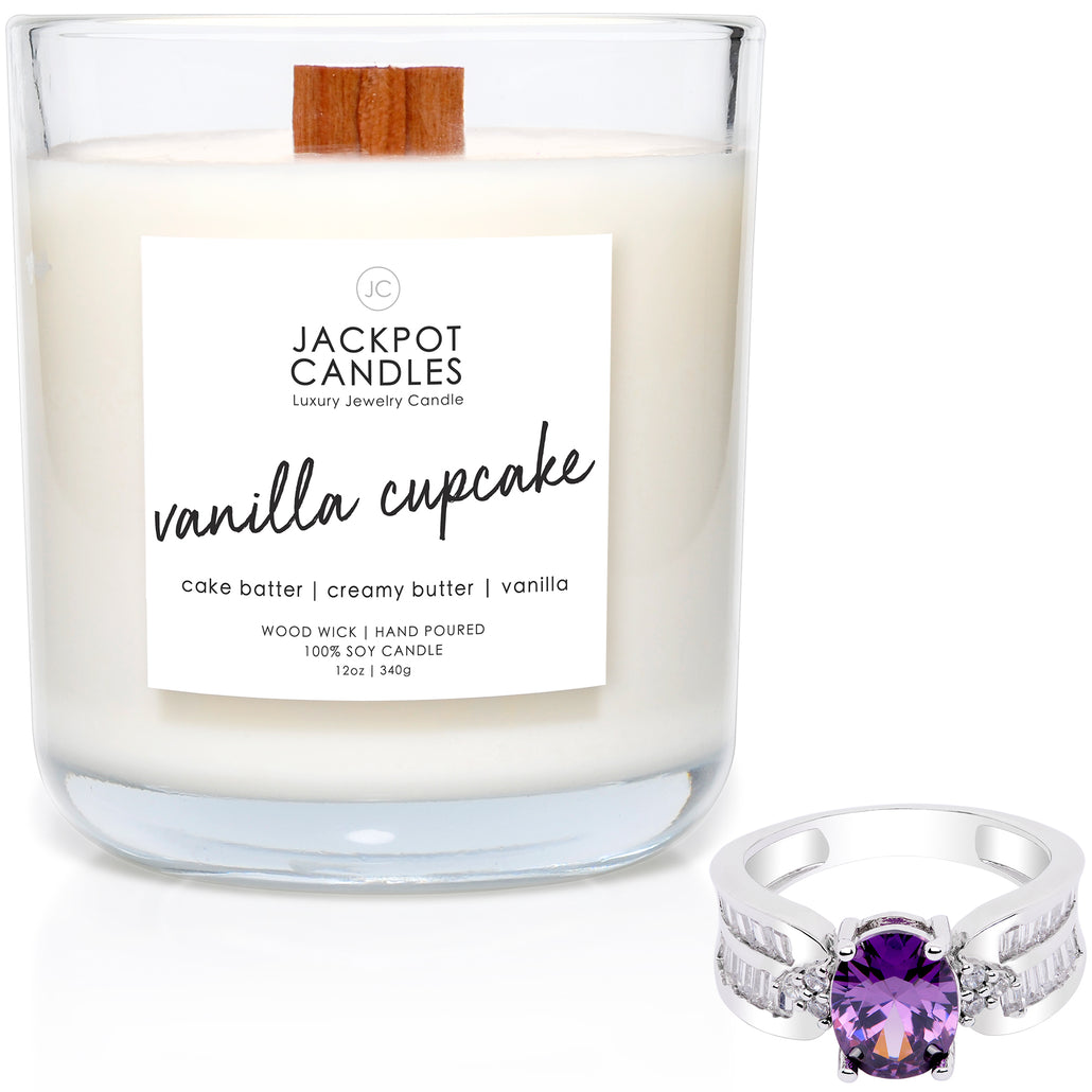 Vanilla Cupcake Wooden Wick Jewelry Ring Candle