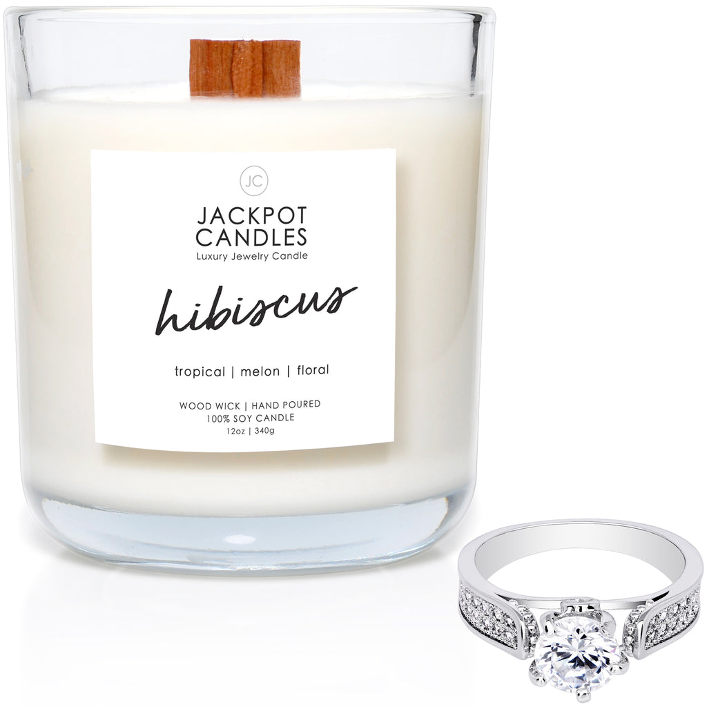 Hibiscus Wooden Wick Jewelry Ring Candle