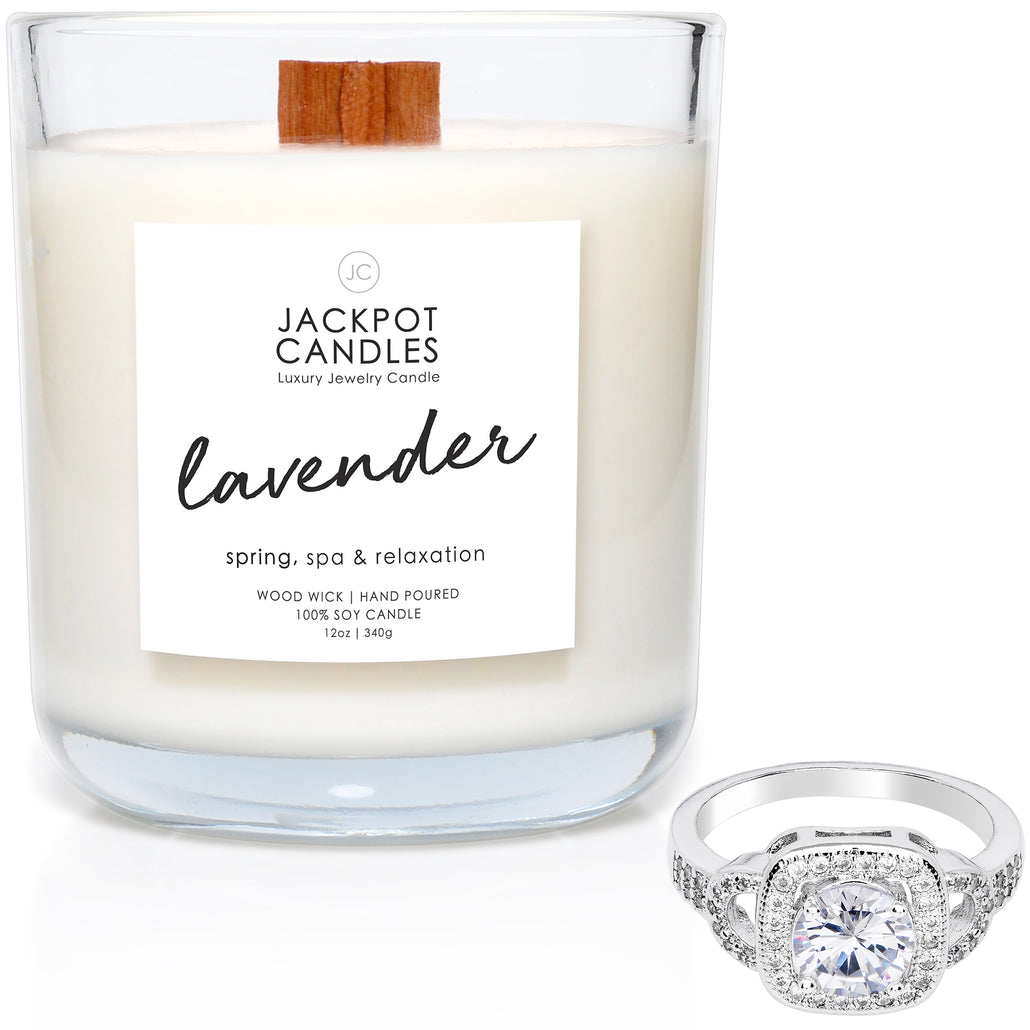 Lavender Wooden Wick Jewelry Ring Candle