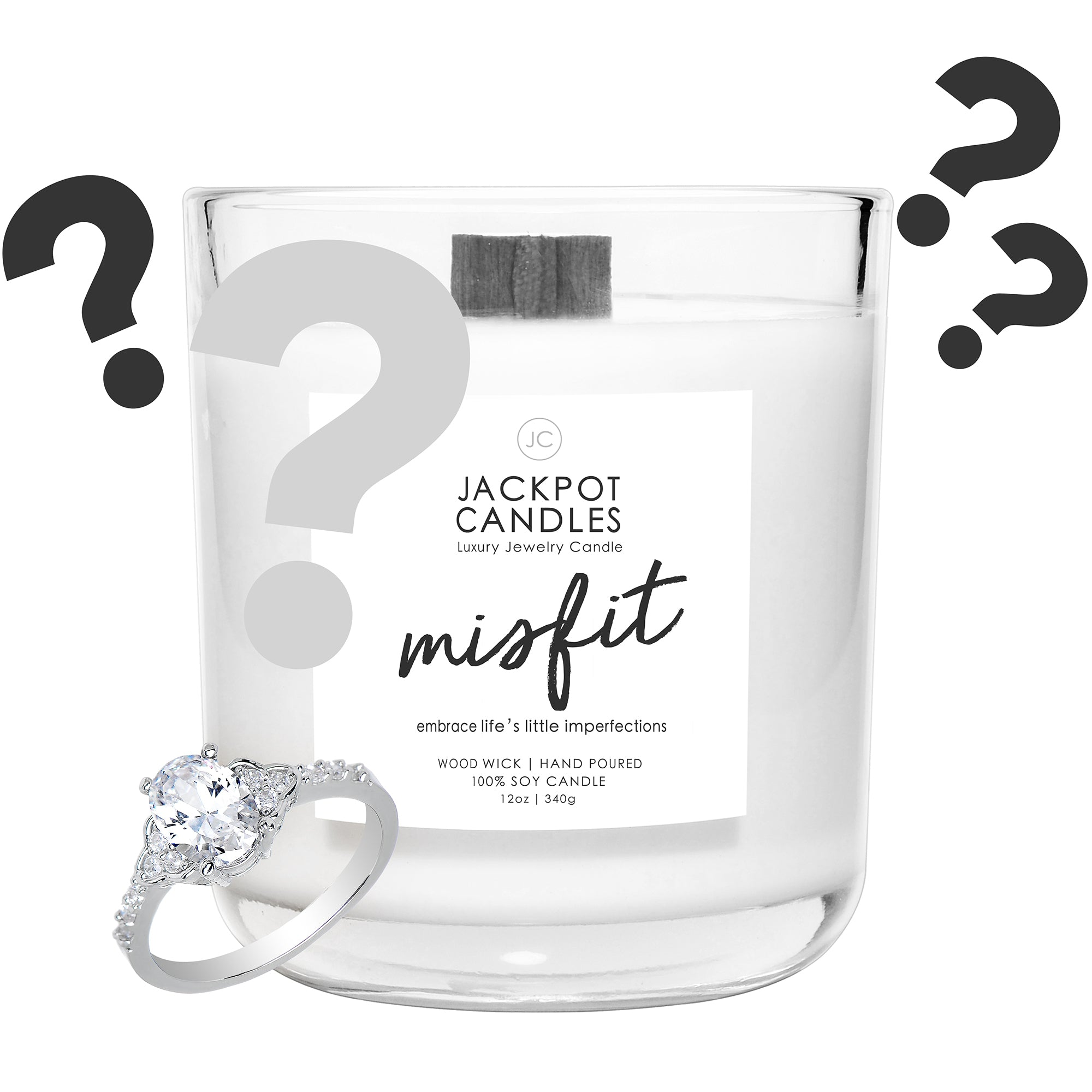 Mystery Misfit Wooden Wick Jewelry Ring Candle