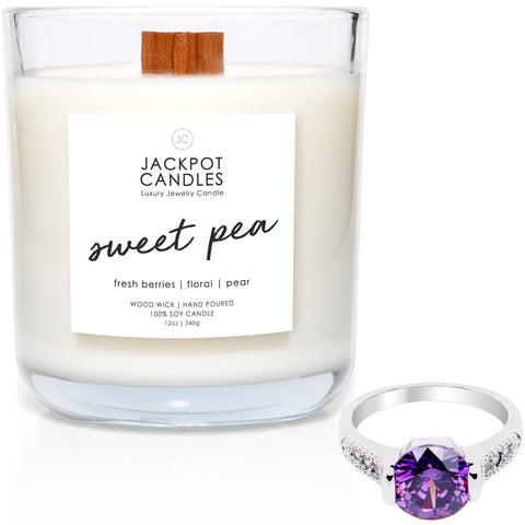 Sweet Pea Wooden Wick Jewelry Ring Candle