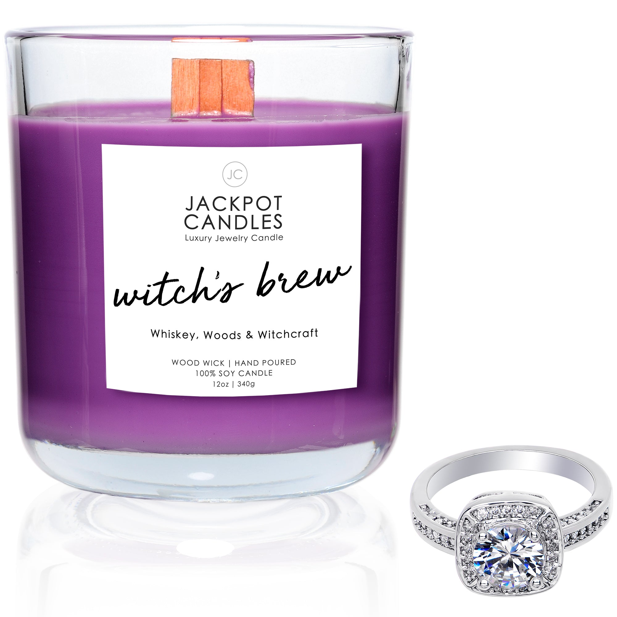Witch's Brew Wooden Wick Jewelry Ring Candle