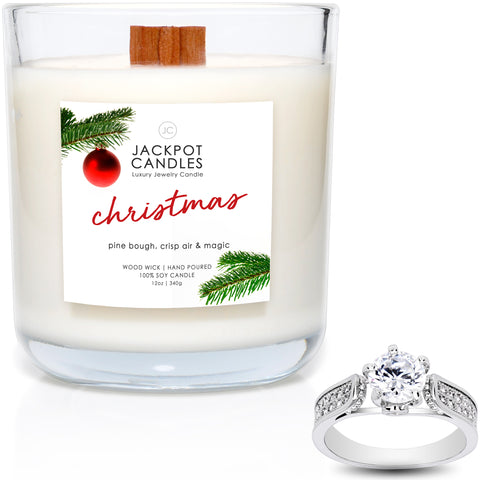 Christmas Wooden Wick Jewelry Ring Candle