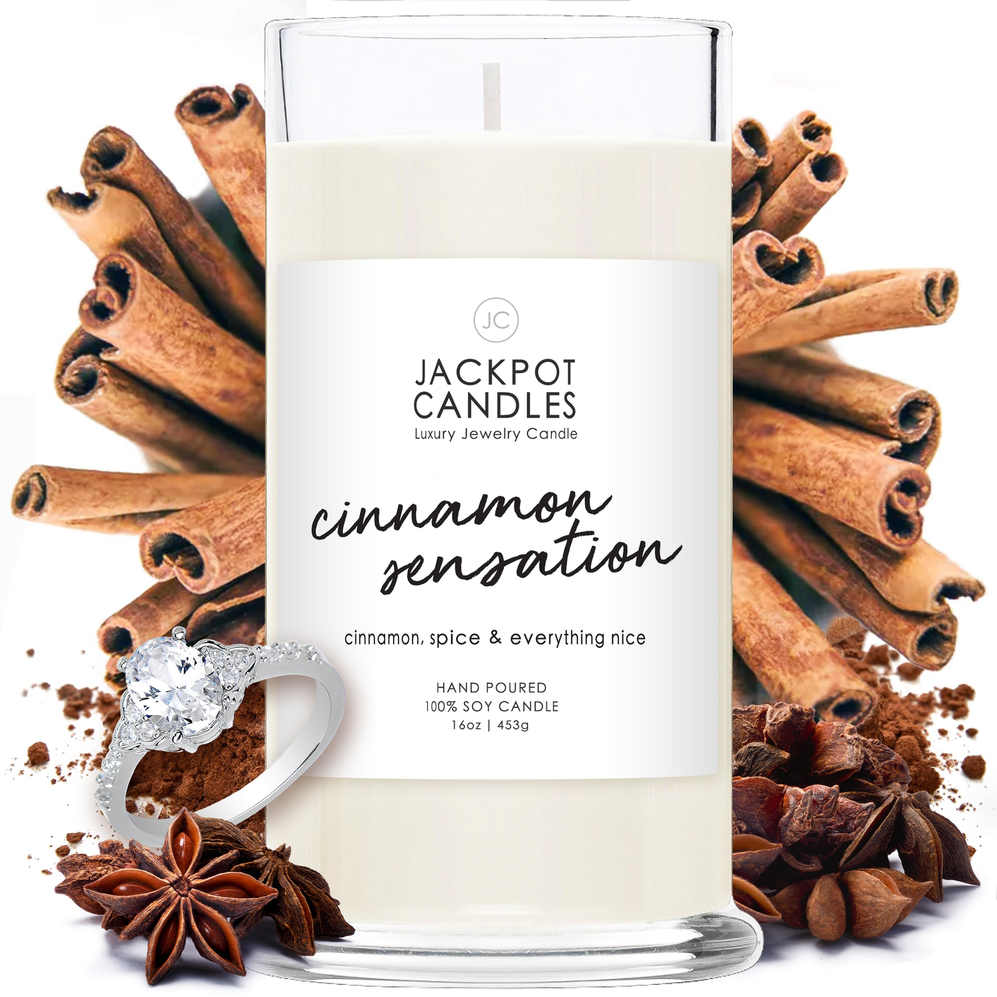Cinnamon Sensation Candle with Jewelry Ring