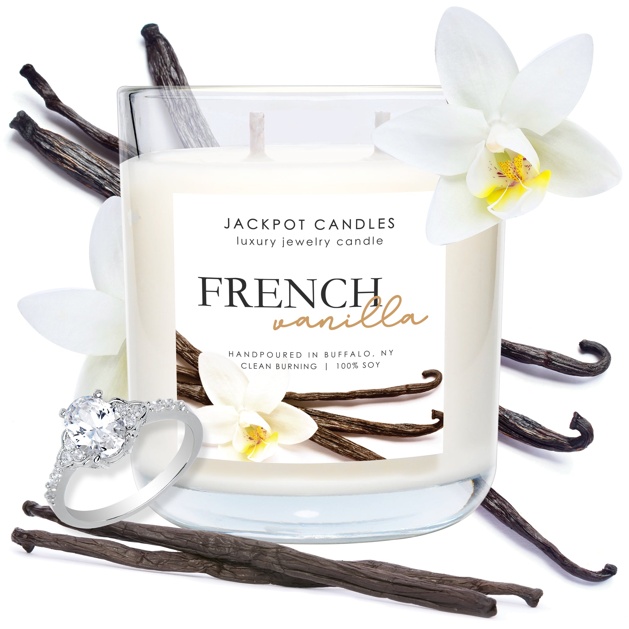 French Vanilla Double Wick Jewelry Ring Candle