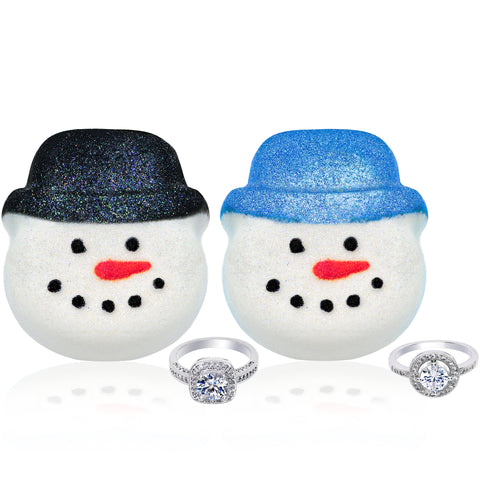 Snowman Bath Bomb 2 Pack Gift Set with Blue and Black Holiday Hats